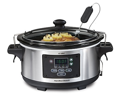 Hamilton Beach Set & Forget 6 qt Programmable Slow Cooker, Silver/Black (33969)