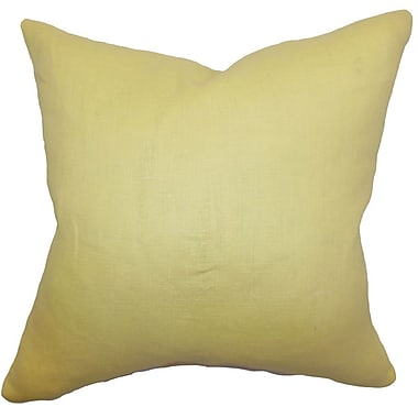 The Pillow Collection Idalya Plain Linen Throw Pillow; 18'' x 18''