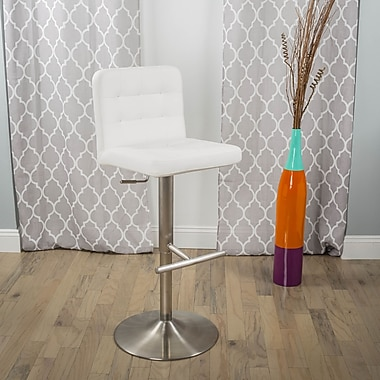 Matrix Adjustable Height Swivel Bar Stool; White