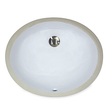 Nantucket Sinks Great Point Vitreous China Oval Undermount Bathroom Sink w/ Overflow; White
