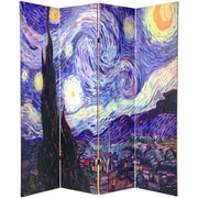 Oriental Furniture 70.88'' x 63'' Double Sided Works of Van Gogh Canvas 4 Panel Room Divider