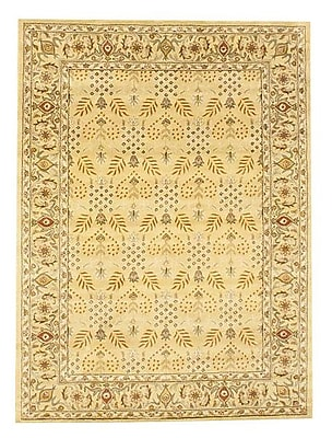 Herat Oriental Hand-Tufted Gold and Ivory Area Rug