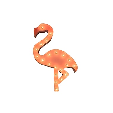 TrekDecor Iconics Pink Flamingo Steel Marquee Light Wall Decor