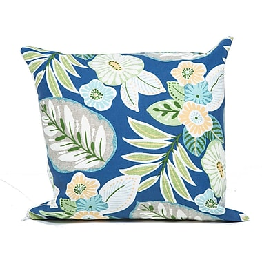 TK Classics Tropical Floral Outdoor Throw Pillow (Set of 2); Blue