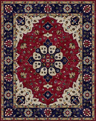 Due Process Stable Trading Co Mogul Hand-Tufted Burgundy/Blue Area Rug; Square 6'