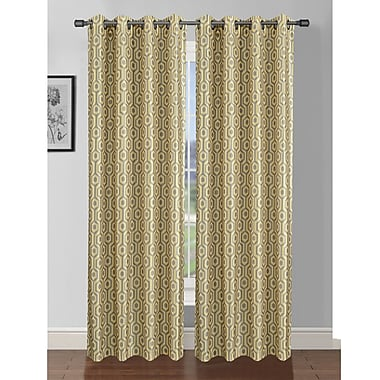 Window Elements Camille Geometric Sheer Curtain Panels (Set of 2); Yellow/Grey