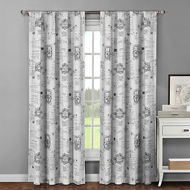 Window Elements Royal Graphic Print & Text Sheer Curtain Panels (Set of 2); Light Grey