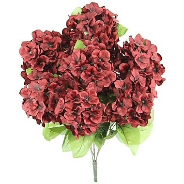 AdmiredbyNature 7 Stems Artificial Full Blooming Stain Hydrangea; Wine