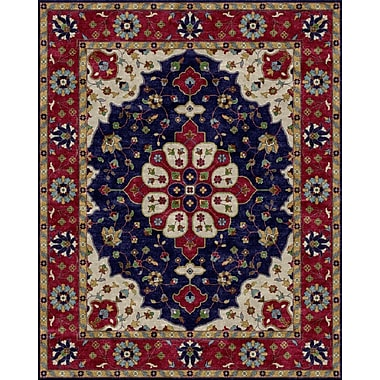 Due Process Stable Trading Co Mogul Hand-Tufted Blue/Red Area Rug; Rectangle 2'6'' x 4'