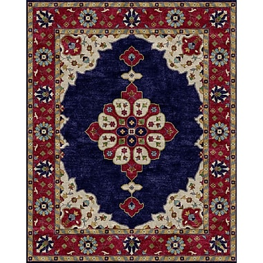 Due Process Stable Trading Co Mogul Hand-Tufted Blue/Red Area Rug; Square 6'
