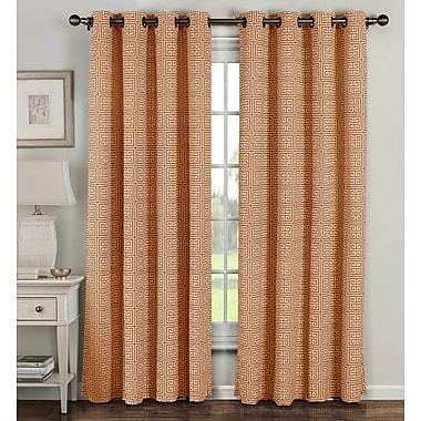 Window Elements Ancient Geometric Sheer Curtain Panels (Set of 2); Rust