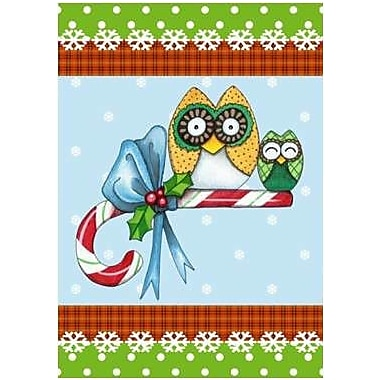 The Cranford Group Candy Cane Owls Garden Flag