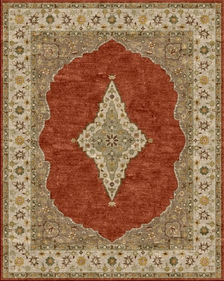 Due Process Stable Trading Co Bidjar Hand-Tufted Terracotta/Sand Area Rug; Round 8'