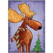 The Cranford Group Whimsical Christmas Moose Garden Flag
