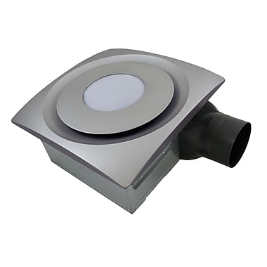 Aero Pure Slim Fit 90 CFM Bathroom Fan w/ Light and Sensor; Satin Nickel