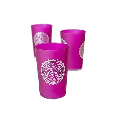 Casablanca Market Luxury Massira Tea Glass (Set of 6); Silver / Pink