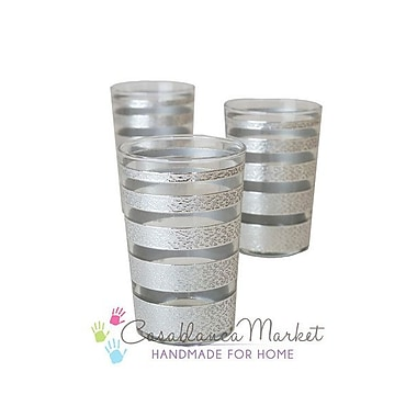 Casablanca Market Luxury Ring Tea Glass (Set of 6); Silver / Clear