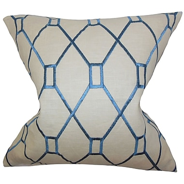 The Pillow Collection Nevaeh Geometric Throw Pillow Cover; Blue