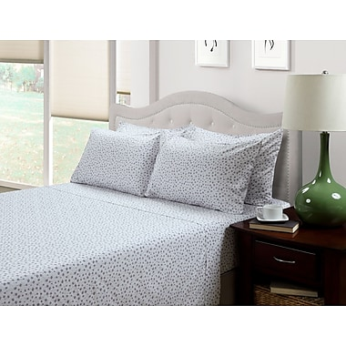 214 West Ditsy Floral Lily 300 Thread Count Cotton 3 Piece Sheet Set; Queen