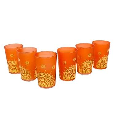 Casablanca Market Luxury Ifrane Tea Glass (Set of 6); Orange