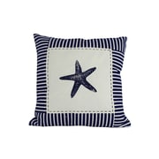 Handcrafted Nautical Decor Starfish Nautical Stripes Throw Pillow