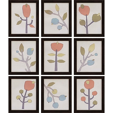 Paragon Stems by Vess 9 Piece Framed Painting Print Set