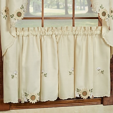 Sweet Home Collection Sunflower Embroidered Kitchen Tier Curtain (Set of 2); 24'' L x 54'' W