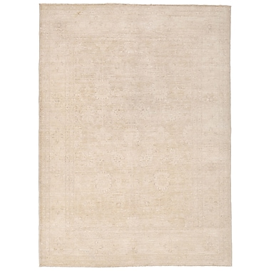 Herat Oriental Vegetable Dye Hand-Knotted Ivory/Beige Area Rug