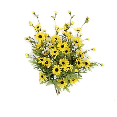 AdmiredbyNature 6 Stems Artificial Full Blooming Daisy Flowers, Flower Buds and Greenery; Yellow Mix