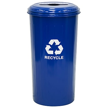Recycle Wastebasket & Top with Single Stream Opening, Blue