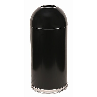 15 Gallon Open Top Dome Receptacle with Galvanized Liner, Black
