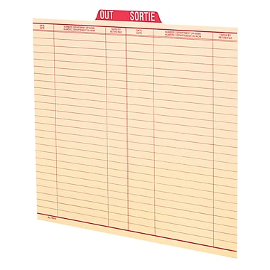 Pendaflex® Letter Size Vertical Out Guide, Red, 100/Box
