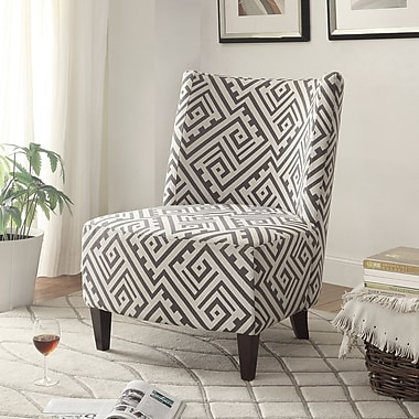 Fabric Accent Chair, Grey/White, 35.5