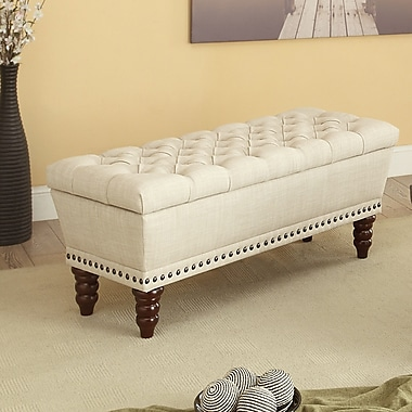 Button Tufted Beige Fabric Storage Bench, 42