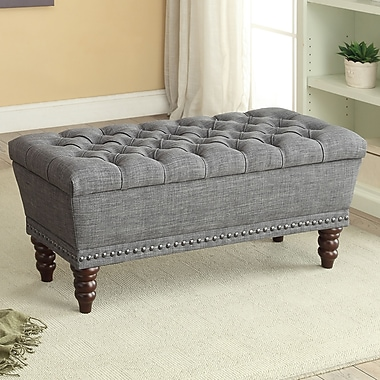 Button Tufted Grey Fabric Storage Bench, 42