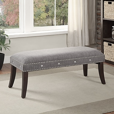 Fabric Bench With Nailhead And Crystal Detail, Grey, 17.75