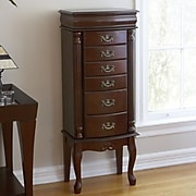 SEI Wood Jewelry Armoire, Mahogany/Red Felt Lining