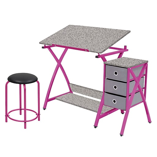 Incredible Studio Designs 24 Metal Comet Table With Stool Pink Bralicious Painted Fabric Chair Ideas Braliciousco