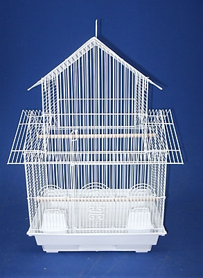 YML Double Roofs Bird Cage; White