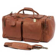Claire Chase Hampton's 20'' Leather Travel Duffel; Saddle