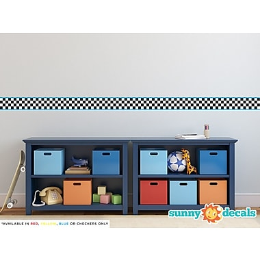 Sunny Decals Racing Stripe Border Wall Decal (Set of 2); Blue