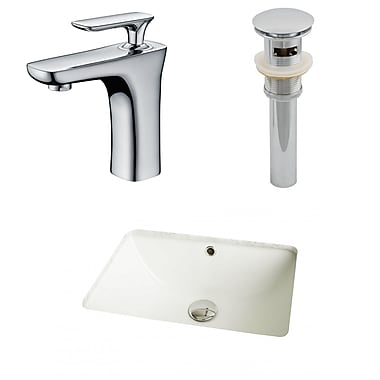 American Imaginations Ceramic Rectangular Undermount Bathroom Sink w/ Faucet and Overflow; Biscuit