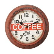 AdecoTrading 11.8'' Retro Round ''Coffee Espresso Club'' Cafe Shop Wall Hanging Clock