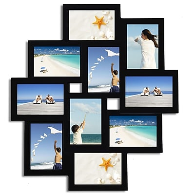 AdecoTrading 10 Opening Wood Photo Collage Wall Hanging Picture Frame
