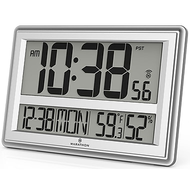 Marathon Watch Company Jumbo Atomic Wall Clock w/ Table Stand - Batteries Included; Silver