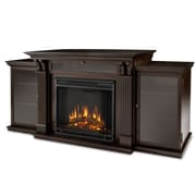Real Flame Cali 67'' TV Stand w/ Fireplace; Dark Walnut