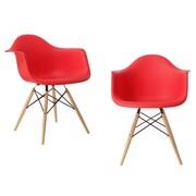 eModern Decor Mid Century Modern Scandinavian Arm Chair (Set of 2); Red