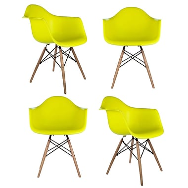 eModern Decor Mid Century Modern Scandinavian Solid Wood Dining Chair (Set of 4); Light Yellow