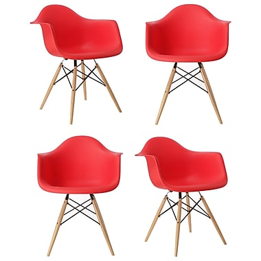 eModern Decor Mid Century Modern Scandinavian Solid Wood Dining Chair (Set of 4); Red