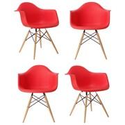 eModern Decor Mid Century Modern Scandinavian Arm Chair (Set of 4); Red